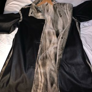 European leather coat with furry inside.